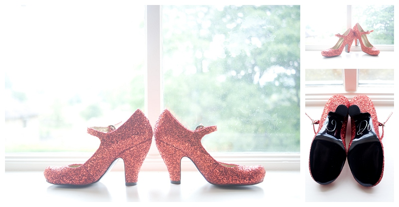 Red glitter wedding shoes